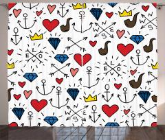 Aşk Temalı Fon Perde Kalp Kırmızı Romantik Şık
