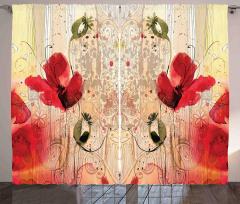 Kırmızı Çiçek Desenli Fon Perde Sarı Şık Tasarım