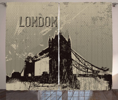 Londra Temalı Fon Perde Gri Bej Siyah Şık Tasarım