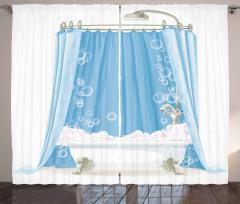 Mavi Banyo Temalı Fon Perde Duş Perdesi Şık Beyaz