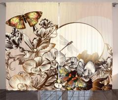 Kelebek ve Çiçek Desenli Fon Perde Bej Şık Tasarım