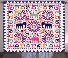Fil ve Çiçek Desenli Fon Perde Mor Şık Tasarım