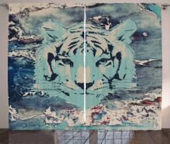 Kaplan Desenli Fon Perde Şık Tasarım Mavi Siyah
