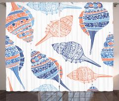 Süslü Deniz Kabukları Fon Perde Mavi Turuncu