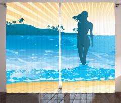 Denizde Kadının Silüeti Fon Perde Mavi Sarı