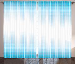 Mavi Beyaz Ekolayzır Fon Perde Geometrik