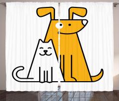 Sevimli Kedi ve Köpek Fon Perde Sarı Beyaz Şık