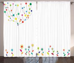 Dekoratif Çiçek ve Ağaç Fon Perde Rengarenk