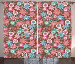 Pembe ve Mavi Çiçekli Fon Perde Şık Tasarım Trend