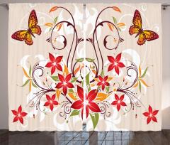 Kelebekli Çiçekli Desen Fon Perde Dekoratif Şık