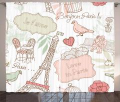 Aşk Temalı Fon Perde Pembe Beyaz Romantik Şık