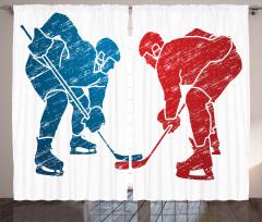 Hokey Oyuncuları Desenli Fon Perde Mavi Kırmızı