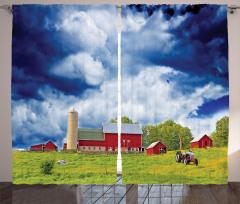 Amerikan Çiftliği Fon Perde Bulutlu Gökyüzü Ağaç