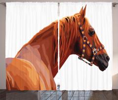 Kahverengi At Desenli Fon Perde Dekoratif Şık