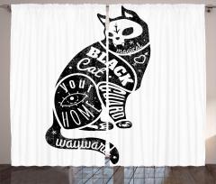 Kara Kedi Desenli Fon Perde Siyah Beyaz Trend