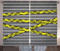 Olay Yeri Polis Bandı Fon Perde Panjur Gri Sarı