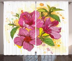 Amber Çiçeği Desenli Fon Perde Dekoratif Çeyizlik