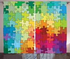 Rengarenk Puzzle Desenli Fon Perde Dekoratif Şık