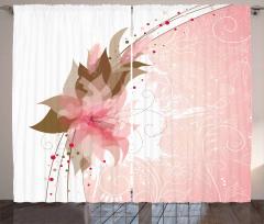 Pembe Çiçek Desenli Fon Perde Şık Tasarım Çeyizlik