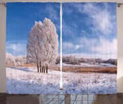 Donmuş Ağaç ve Bulutlar Fon Perde Kış Kar Mavi