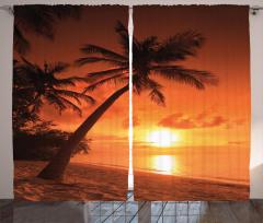 Palmiyeli Plajda Gün Batımı Fon Perde Turuncu