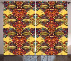 Etnik Aztek Desenli Fon Perde Dekoratif Trend