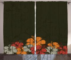 Amber Çiçeği Buketi Desenli Fon Perde Kahverengi