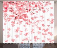 Kiraz Çiçekleri Desenli Fon Perde Pembe Beyaz Şık