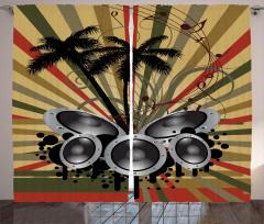 Müzik ve Palmiyeler Fon Perde Dekoratif Şık Trend