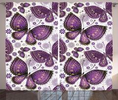 Mor Çiçekli Kelebek Desenli Fon Perde Dekoratif
