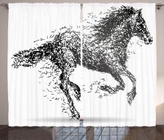 Dört Nala Koşan At Fon Perde Siyah Dekoratif Şık