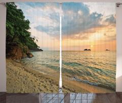Tropik Plajda Gün Batımı Fon Perde Gökyüzü Deniz