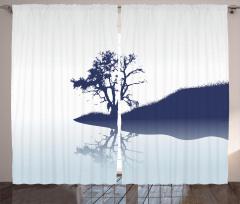 Nehir Kıyısındaki Yalnız Ağaç Fon Perde Dekoratif
