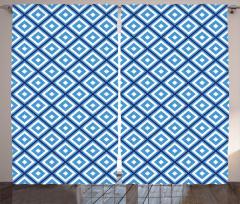 Mavi Beyaz Geometrik Desenli Fon Perde Dekoratif