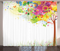 Rengarenk Ağaç Desenli Fon Perde Kelebek Trend