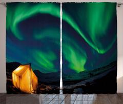 Yeşil Kuzey Işıkları Fon Perde Gökyüzü