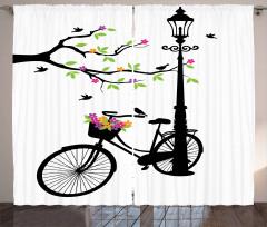 Çiçek ve Bisiklet Desenli Fon Perde Siyah Beyaz