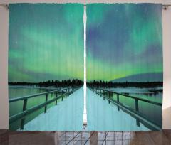 Karlı Köprü ve Gökyüzü Fon Perde Kuzey Işıkları
