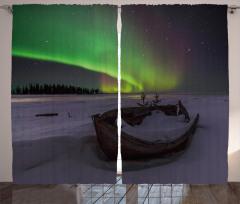 Tekne Yıldız ve Gökyüzü Fon Perde Kuzey Işıkları