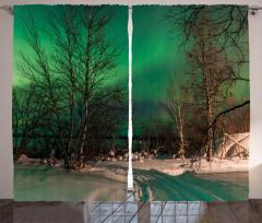 Orman ve Kuzey Işıkları Fon Perde Yeşil Gökyüzü