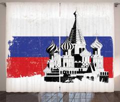 Kremlin Temalı Fon Perde Siyah Beyaz Şık Tasarım