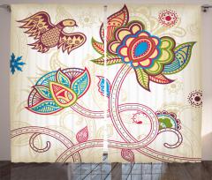 Dekoratif Çiçek ve Kuş Fon Perde Şal Desenli