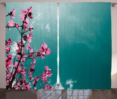 Pembe Çiçek ve Gökyüzü Fon Perde Dekoratif Şık