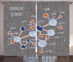 Kimya Deneyi Desenli Fon Perde Laboratuvar Bilim