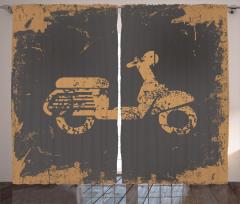 Nostaljik Motosiklet Fon Perde Siyah Şık