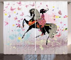 At ve Kız Temalı Fon Perde Pembe Kelebek Çiçek