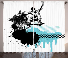 Palmiyeler ve Kaykaycı Fon Perde Sanatsal