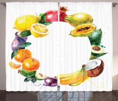 Meyvelerden Çember Fon Perde Natürmort