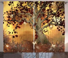 Ağaç ve Yaprak Desenli Fon Perde Kahverengi Sarı