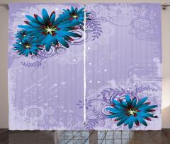 Mavi Mor Çiçek Desenli Fon Perde Şık Tasarım